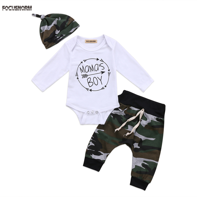 FOCUSNORM New Casual Lovely Kids Toddler Baby Boys Top Romper Camoufalge Long Pants 3Pcs Outfits Set Clothes