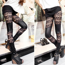 Lady Women Fashion Lace Patchwork Artificial Leather Close-fitting Pant Leggings Black S88  88 -MX8