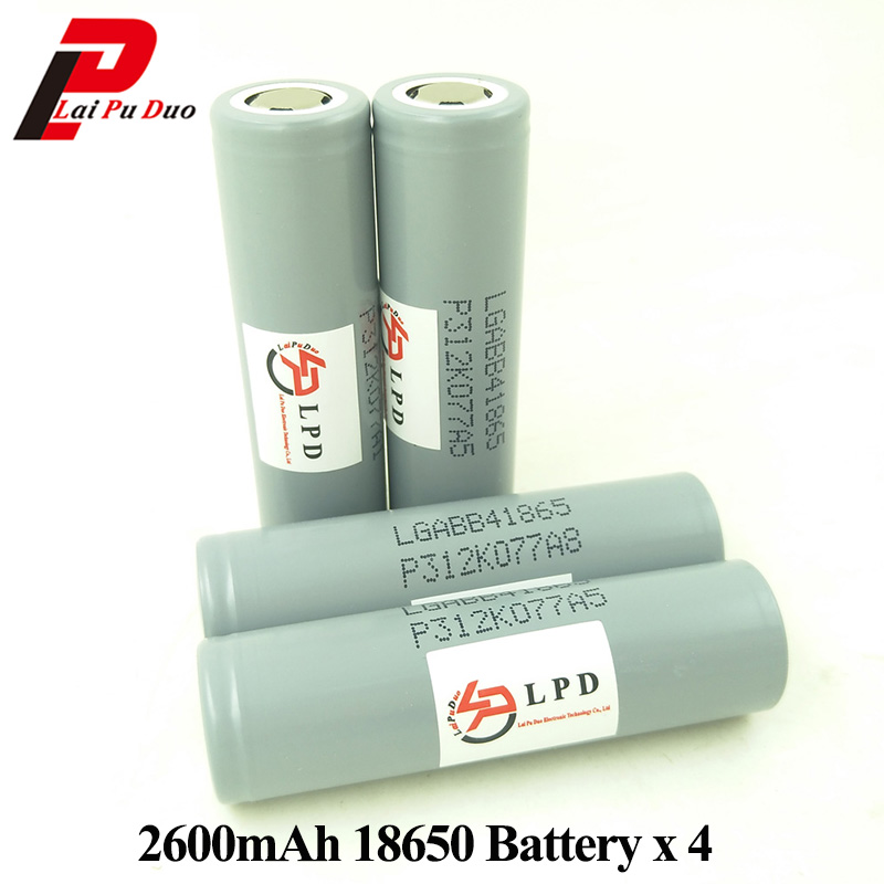 3.6V 2600mAh Li-Ion Rechargeable 18650 Batteries Power Bank Camera Flashlight Battery ICR18650 4 Pieces Included