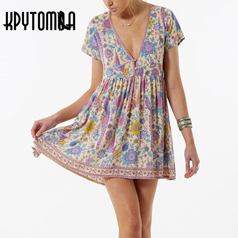 Boho Vintage Birds Floral Print Mini Dress Women 2018 New Fashion V-Neck Short Sleeve Summer Beach Dresses Casual Vestidos Mujer