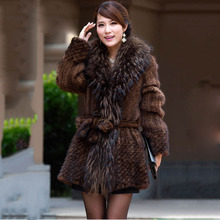 women genuine knitted mink fur long coat natural mink fur jacket female with big raccoon fur collar female real fur overcoat