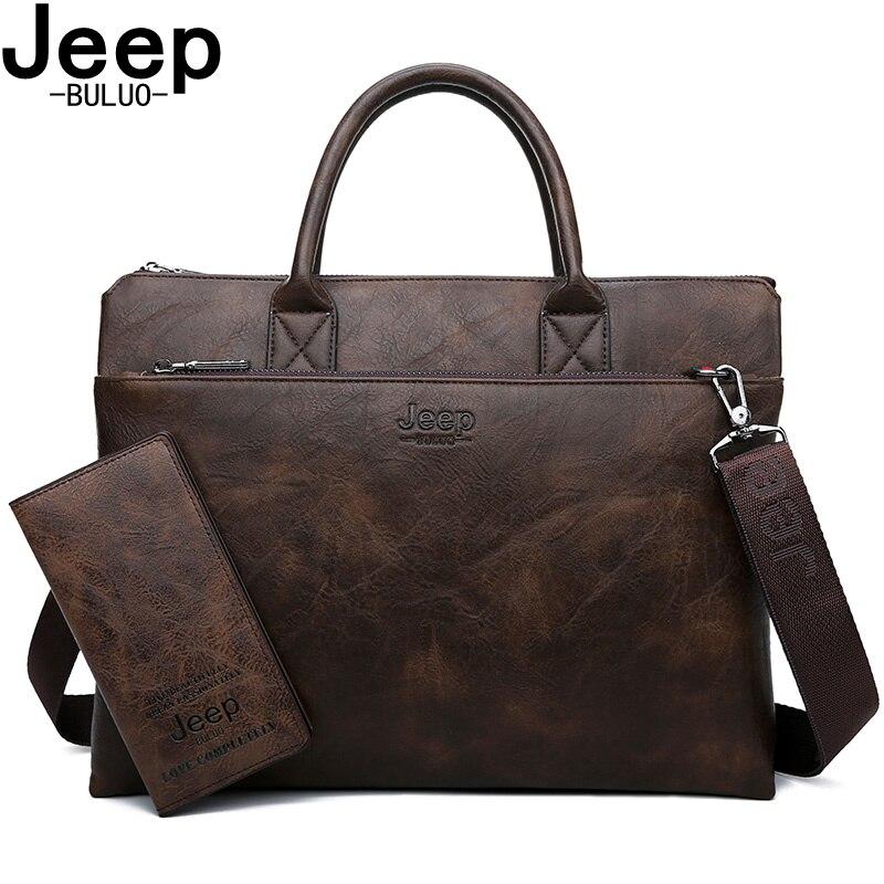 JEEP BULUO marque haute qualité 14 pouces ordinateur portable sacs d'affaires hommes porte-documents ensemble pour sacs à main en cuir bureau grande capacité sacs