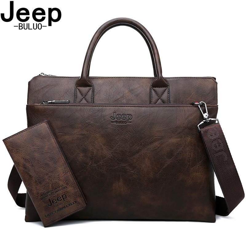 지프 buluo 브랜드 높은 품질 14 인치 노트북 비즈니스 가방 남자 서류 가방 핸드백 가죽 사무실 대용량 가방에 대 한 설정-에서서류 가방부터 수화물 & 가방 의  그룹 1