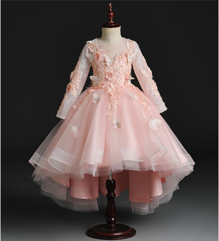 Beaded Appliques Girls Wedding Dress Party Pink Tulle Princess Birthday Dress Long Sleeve Flower Girl Dress