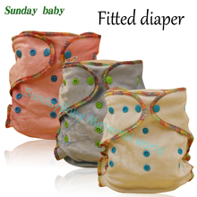 Resuable bamboo cotton inner fitted diaper with 2 pcs bamboo insert baby bamboo cloth diapers baby