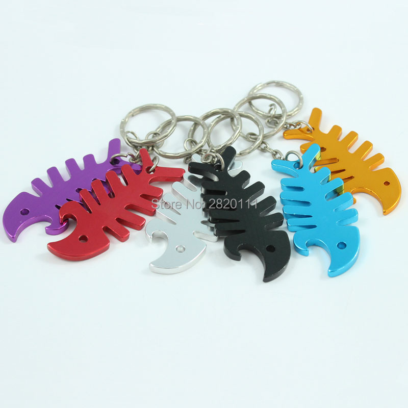 Wholesale 72pcs Metal Bar Beer Bottle Opener Fishbone KeyChains Aluminum Alloy Can Opening Tools Promotion Gift