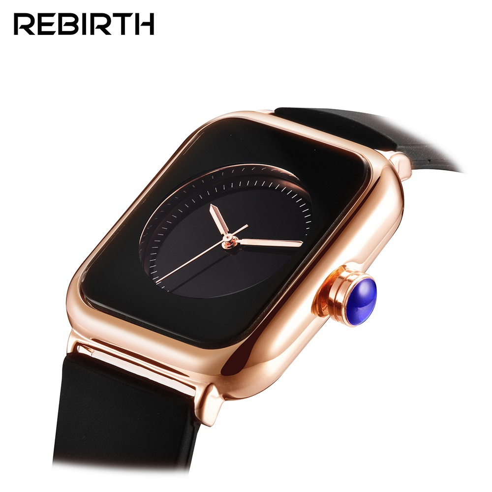 REBIRTH Relojes De Mujer Women Dress Watch Ladies Luxury Square Silicone Strap Quartz Watch Women Clock Montre Femme Reloj Mujer