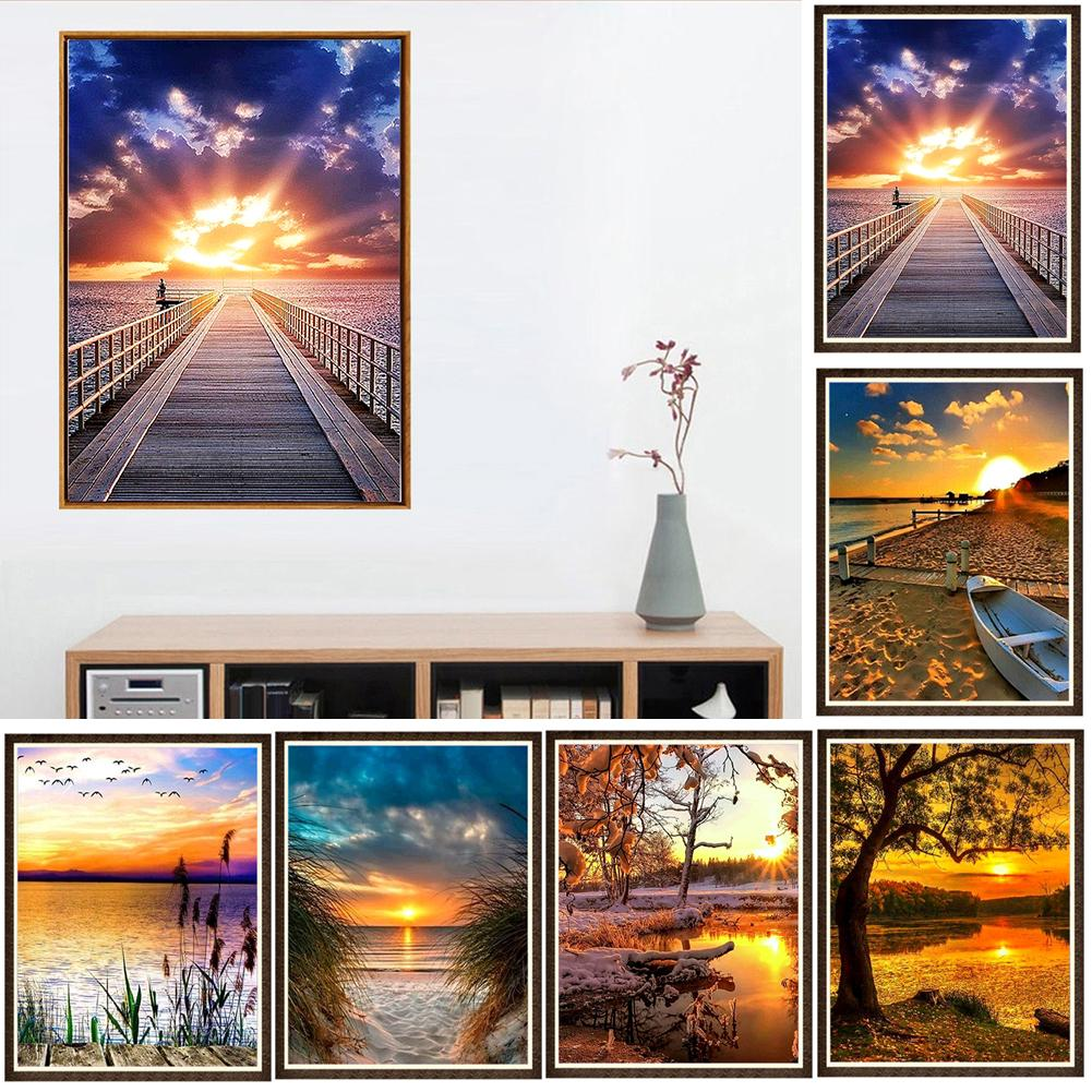 1 Set 30x40cm Scenery Full Round Diamond Painting Cross Stitch Living Room Wall Home Decoration New