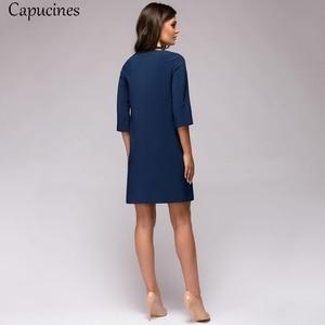 Image 4 - 2019 秋の女性のファッションアップリケドレス女性oネック 3 分袖カジュアルルースドレス女性ミニパーティードレス