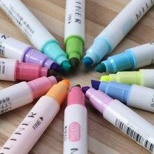 Cores Marcador Artista 12 Dirigido Dobro Fluorescente Marcadores Esboço Caneta Escola