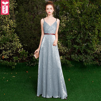 Custom Important Places Sequins Party Banquet Floor Length Dresses Evening Formal Wedding Spaghetti Strap Ball Gown Maxi Dress