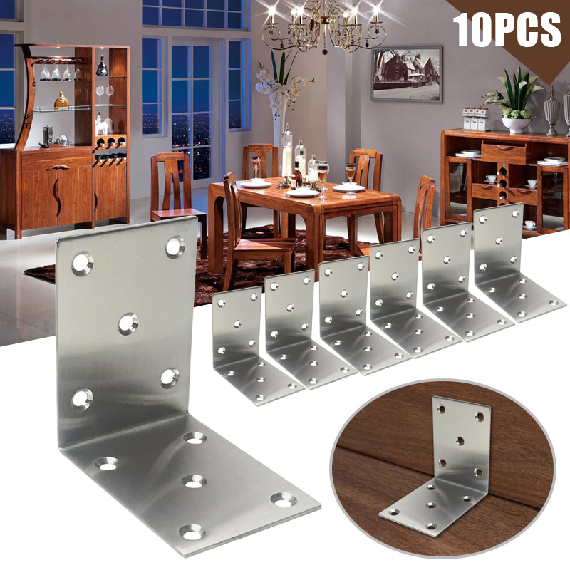 10 Pcs Corner Brace Iron L Type Right Angle Shelf Support Bracket Fastener for Furniture Cabinet CLH@8 5 packs 2 pcs 150mmx150mm shelf support corner brace joint right angle bracket