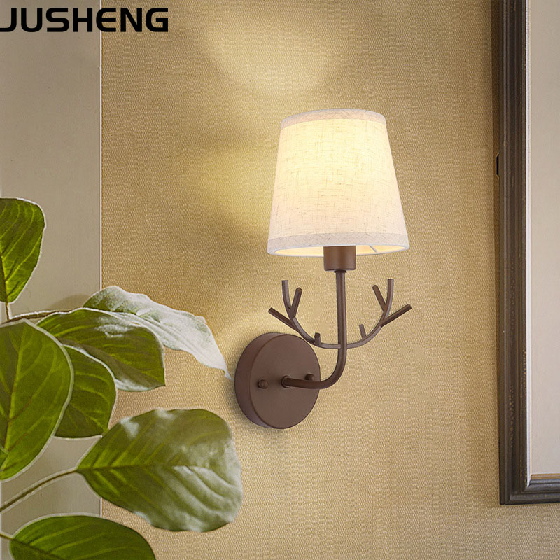JUSHENG Modern Brown Wall lamp with plug in cord, E14 sorcket bedroom bedside lamp with fabric shade