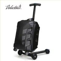 100% 20 дюймов Модный комплект из двух предметов студентов скутер тележка чемодан/мальчик прохладно 3D крышка экструзии деловых поездок чемода