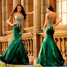 New 2018 Dark Green Mermaid Evening Dress One Shoulder Floor Length Gold  Lace Taffeta One Shoulder Long Formal Dresses Cheap b202bfac4c62