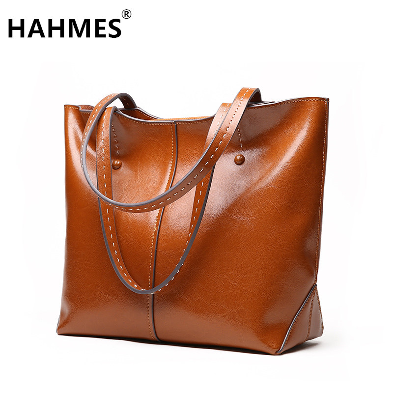 HAHMES 100% Genuine Leather Women Bag Casual shoulder strap design shoulder bag big size 40cm 10898 hahmes 100