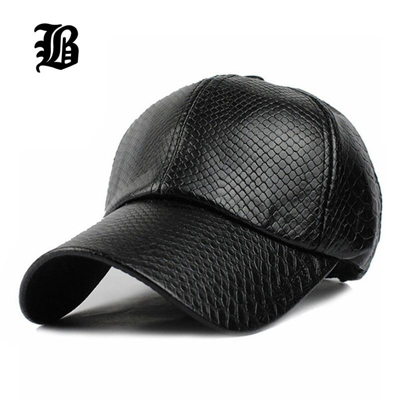 flb cool new fashion pu black baseball cap hats