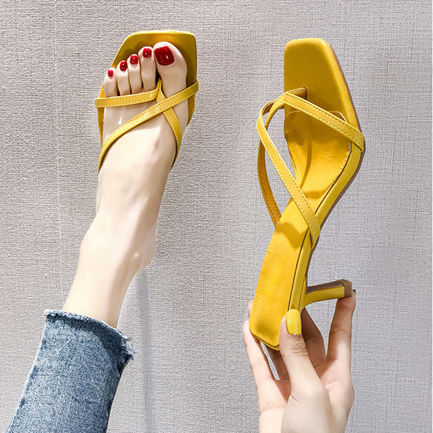 Woman Band Design Summer Flip Flop Slippers Fluorescent Color Sexy High Thin Heels Sandals Ladies Outdoor Slippers Slides Shoes in Flip Flops from Shoes