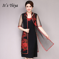 It's Yiiya Mother of the Bride Dresses Plus Size 2 Piece Set Pearls Embroidery Fashion Designer Elegant Mother Dress M044