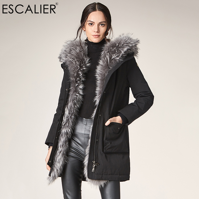 Escalier Women's casual   Down     Coats   2018 Winter Fox Fur Collar Hooded Slightly Waterproof   Coat   Female Big pocket warm   Down