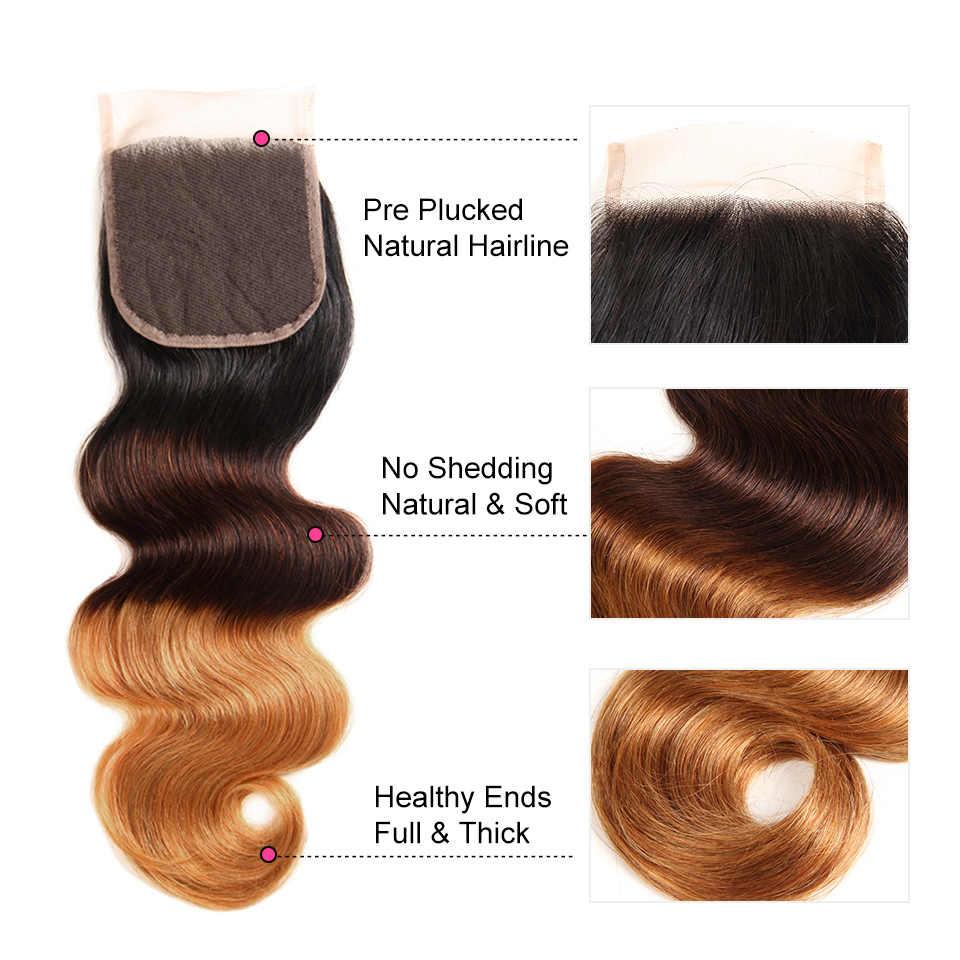 Alipearl cabelo 1b/4/30 ombre brasileiro onda do corpo cabelo 3 pacotes de cabelo humano com fechamento 10-24 Polegada extensões de cabelo remy