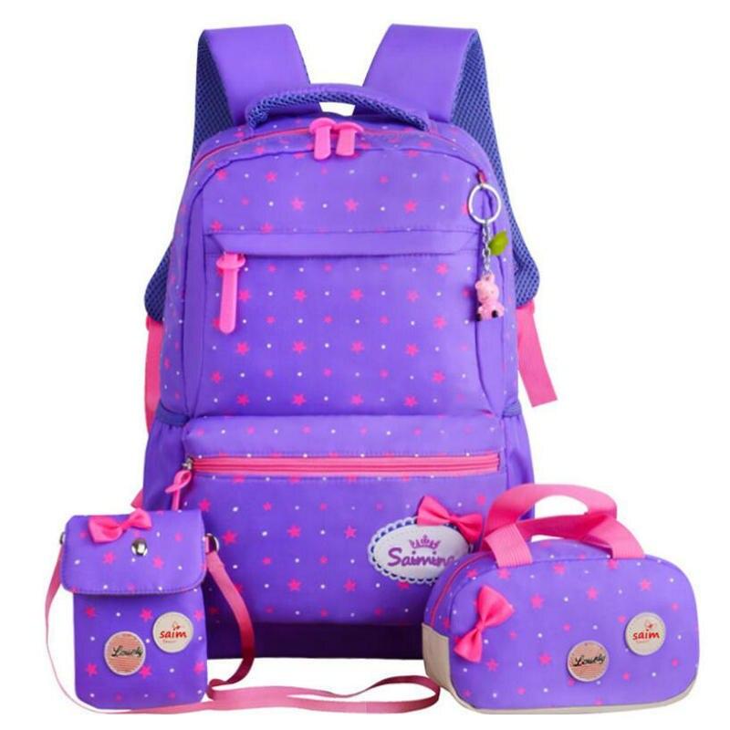 Высокое качество школьные сумки для девочек-подростков путешествия рюкзак 3 шт./компл. дети принцесса ортопедические ранцы Рюкзаки книга су...