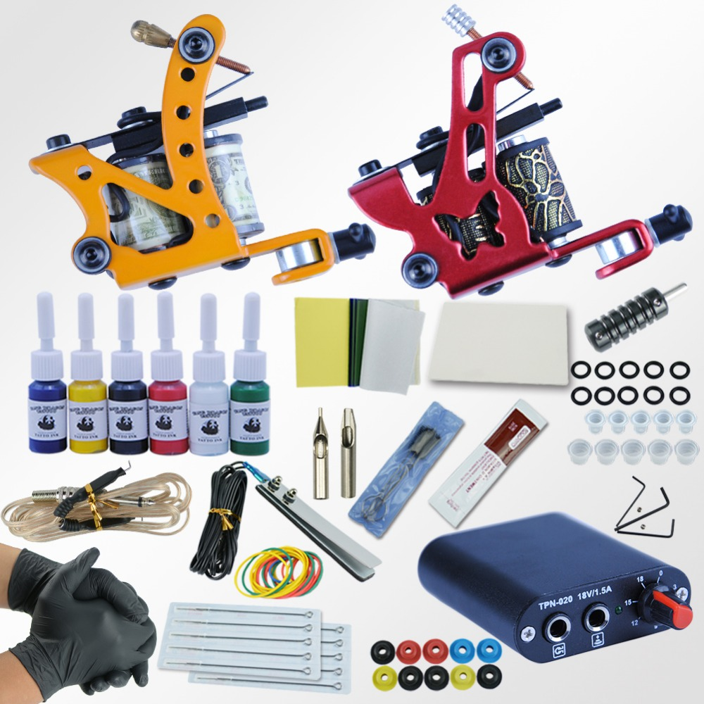 все цены на Professional Tattoo Kit 6 Colors Ink 2 Machines Set Tattoo Power Supply Needles Permanent Make Up Complete Tattoo Machines Kit