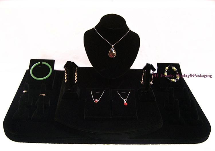 Classique bijoux affichage collier pendentif support boucles d'oreilles support noir velours vitrines 60*35*26cm