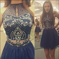 Short Navy Blue Short Homecoming Dresses 2016 Sheer High Neck Above Knee Length Crystals Beads Teens Mini Party Prom Club Dress