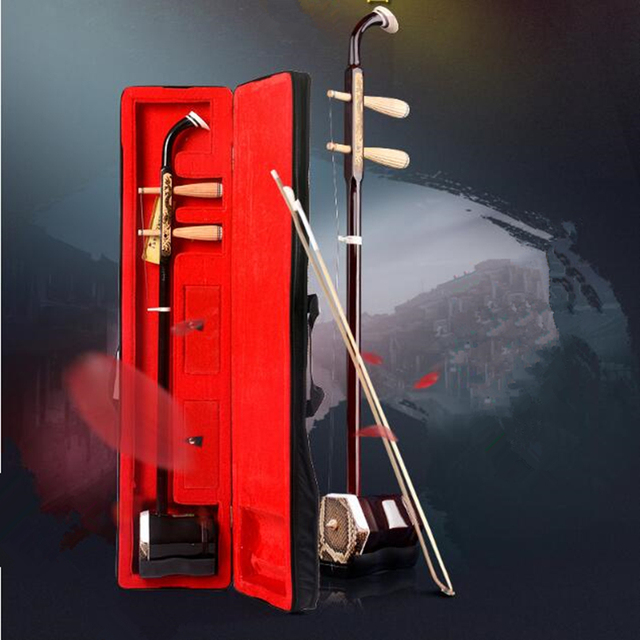 جديد Erhu الموسيقية الصينية سلاسل اثنين الكمان Madeira منحوتة التنين شقة القطب سداسية الشكل القوس إرسال كتاب حالة erheen