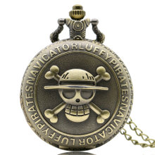 Steampunk Antique Bronze Pirate Skull One Piece Quartz Retro Pocket Necklace Pendant Watch Vintage Jewelry Gifts