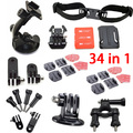 Go Pro Accessories Kit for GoPro Hero 4 session 3 3+ 2 Roll Bar Mount+Suction Cup Mount,Helmet Strap pole Monopod Mount