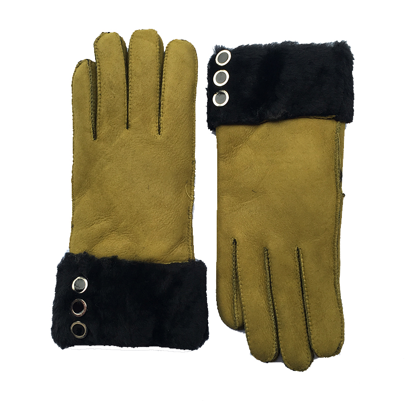 Women Winter Warm Gloves New Wool Genuine Leather Sheepskin Gloves Solid Real Sheep Fur Mittens Elegant Warm Female Gloves G29 in Women 39 s Gloves from Apparel Accessories