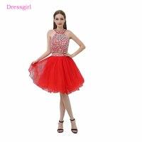 Красный 2019 Homecoming платья A Line Холтер короткий Мини органза бисером кристаллы спинки две части Элегантные коктейльные платья