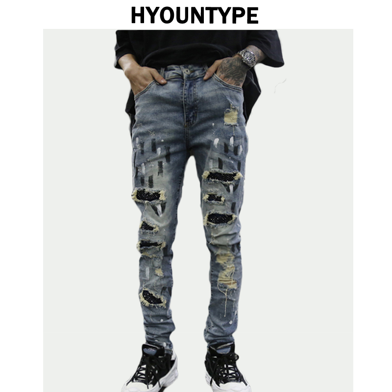 Graffiti Printed Ripped Destroied Denim Jean Mens Distressed Biker Jeans With Sequins 2018 Fashion High-street Slim Pants Jogger