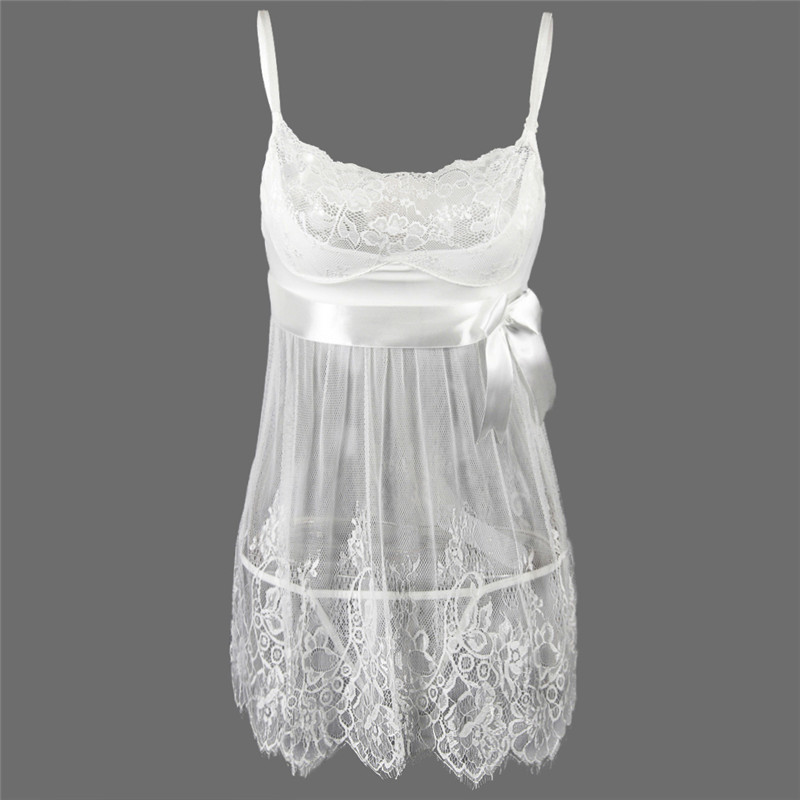 S M L XL 2XL 3XL 4XL 5XL <font><b>6XL</b></font> Plus Size Women White Transparent Dress <font><b>Lingerie</b></font> <font><b>Sexy</b></font> Hot Erotic Big Bow Lace Underwear Bride Robe image