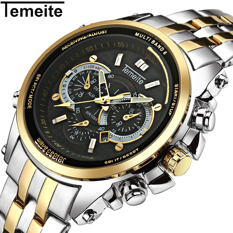 TEMEITE Luxury Brand Watches Men Stainless Steel Fashion Sport Mens Watch 3ATM Waterproof Quartz Wristwatch Relogio Masculino weide japan quartz watch men luxury brand leather strap stainless steel buckle waterproof new relogio masculino sport wristwatch