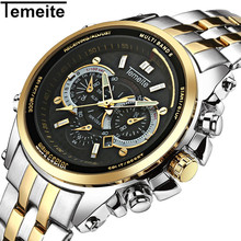 цена TEMEITE Luxury Brand Watches Men Stainless Steel Fashion Sport Mens Watch 3ATM Waterproof Quartz Wristwatch Relogio Masculino онлайн в 2017 году