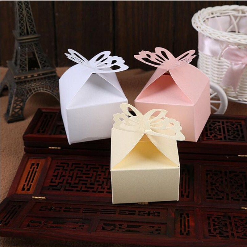 50pcs/lot Small Paper Candy Boxes Foldable Butterfly Gift Box for Buscuit Engagement Party Favors Wedding Supplies for Guests