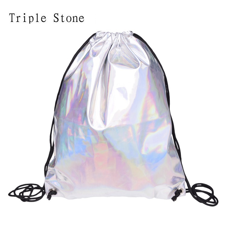 Triple Stone Holographic Leather Drawstring Bag Fashion Women Small Backpack Sackpack Laser Hologram Travel Bag For Teenagers