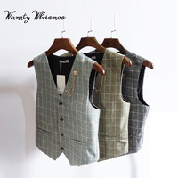 2018 New Men's Vest Male Fashion Brand Banquet Men Classic Vest Checked Gilet Costume Homme Slim Fit Vest Cotton Waistcoat