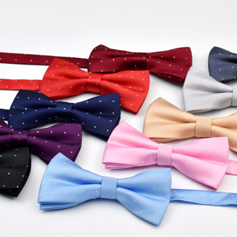 SCST Brand Pajaritas 2019 New White Dot Print Solid Gold Handmade Mens Silk Bow Ties Fashion Casual Men Bowtie CR066
