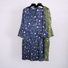 spring fashion new printed v-neck dress XL-4XL