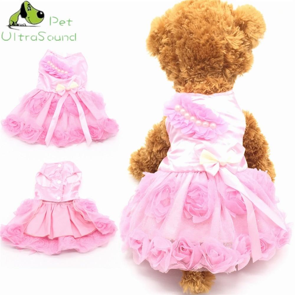 ULTRASOUND PET Luxusní pes Svatební šaty Letní Pet Oblečení tutu Šaty Sukně Malé Oblečení pro psy Oblečení Elegantní květinové šaty  t