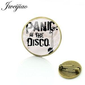 JWEIJIAO сохраняйте спокойствие и панику! На Диско Броши стеклянный кабошон купол античная бронза металлический значок одежда сумка Pin PD88