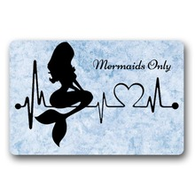 Entrance Floor Mat Non-slip Mermaids Only Door Outdoor Indoor Rubber Non-woven Fabric Top 15.7x23.6 Inch