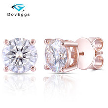 DovEggs Romantic 14K Rose Gold 4CTW 8mm F Color Hearts and Arrows Moissanite Stud Earrings with Push Back for Women