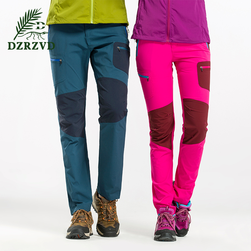 ФОТО DZRZVD Spring Outdoor Hiking Camping Trekking Pants Men Women  Breathable Softshell Pants Men Trousers Climbing Sports Pants