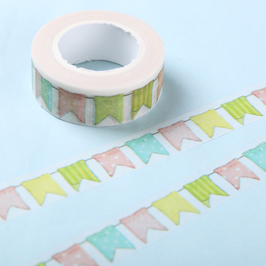 Colour Flag Washi Tape DIY Decoration Scrapbooking Planner Masking Tape Adhesive Tape Kawaii Stationery 10m 15mm creative colored dots washi tape diy decoration scrapbooking planner masking tape kawaii stationery adhesive tape 1 pcs