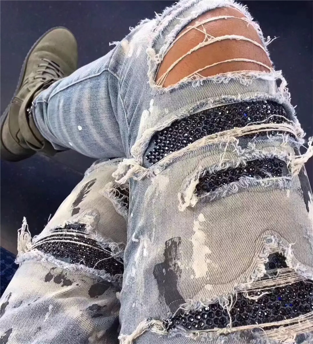 b27b713709a Detail Feedback Questions about Skinny Fit Sequin Patched Denim Jeans  Distressed Stretch Biker Jeans Kanye West Knee slit Paint Splatter Jeans  High Quality ...